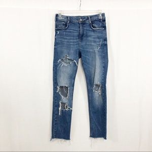 Zara Trafaluc High Rise Distressed Ankle Jeans, 2
